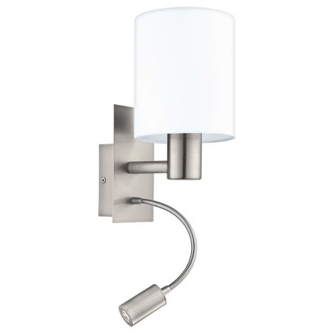 Eglo 96477 - LED Kinkiet PASTERI 1xE27/40W+LED/3,5W biały