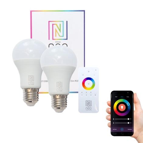 Immax NEO - 2xLED RGB Ściemnialna żarówka E27/8,5W/230V + zdalne sterowanie ZigBee
