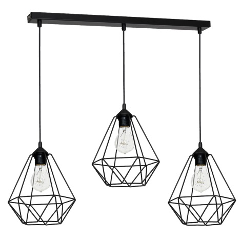 Lampa wisząca BASKET 3xE27/60W/230V czarny