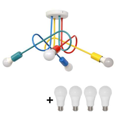 LED Dziecięcy żyrandol natynkowy OXFORD 4xE27/10W/230V