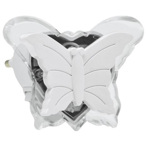 LED Nocne światełko do gniazdka 0,4W/230V biały motyl