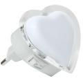 LED Nocne światło do gniazdka 0,4W/230V białe serce