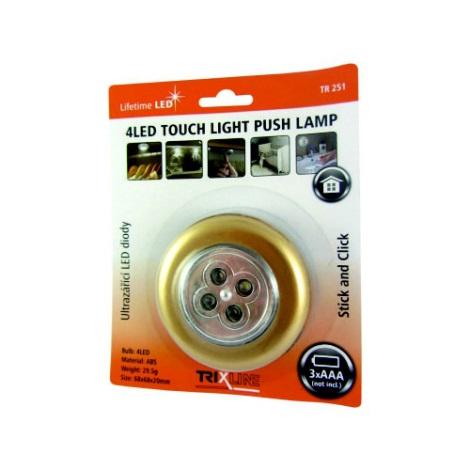 LED Nocne światło dotykowe 4xLED/0,2W/3xAAA złote