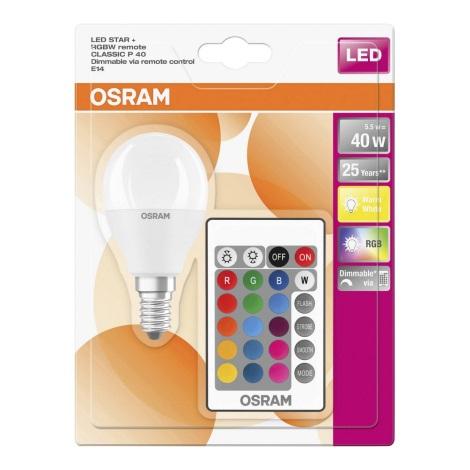 LED RGB Żarówka ściemnialna E14/5,5W/230V - Osram