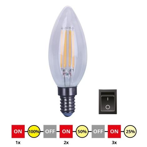 LED Żarówka ściemnialna E14/4W/230V C35 2700-3000K
