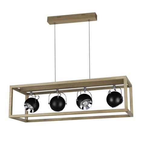 LED Żyrandol na lince ROY 4xGU10/5W/230V dąb matowy