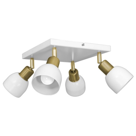 Oświetlenie punktowe FRESNO 4xE27/60W/230V biały/złoty