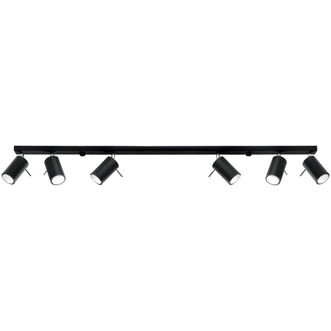 Oświetlenie punktowe RING 6L 6xGU10/40W/230V czarny