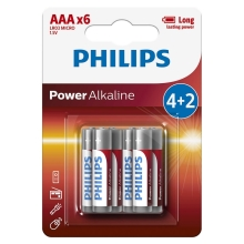 Philips LR03P6BP/10 - 6 ks Bateria alkaliczna AAA POWER ALKALINE 1,5V
