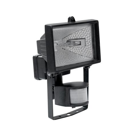 Reflektor z czujnikiem R7s/150W/230V IP44 czarny