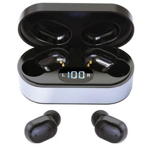 Słuchawki bezprzewodowe Bluetooth V5.0 + stacja ładująca czarne
