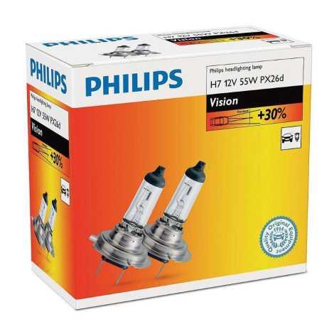 ZASTAW 2x Żarówka samochodowa Philips VISION 12972PRC2 H7 PX26d/55W/12V