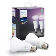 ZESTAW 2x LED RGB Ściemnialna żarówka Philips HUE WHITE AND COLOR AMBIANCE E27/10W/230V