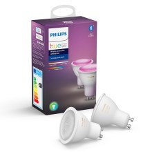 ZESTAW 2x LED Ściemnialna żarówka Philips WHITE AND COLOR AMBIANCE GU10/5,7W/230V 2000-6500K