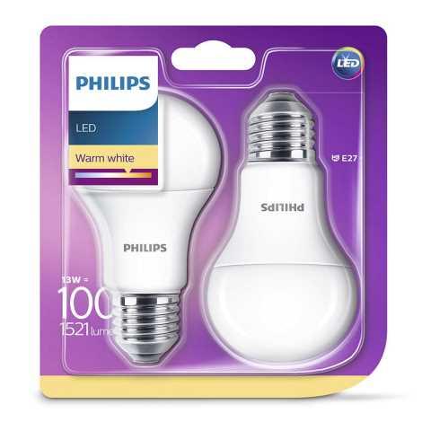 ZESTAW 2x LED Żarówka Philips E27/13W/230V