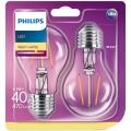 ZESTAW 2x LED Żarówka Philips E27/4,3W/230V 2700K