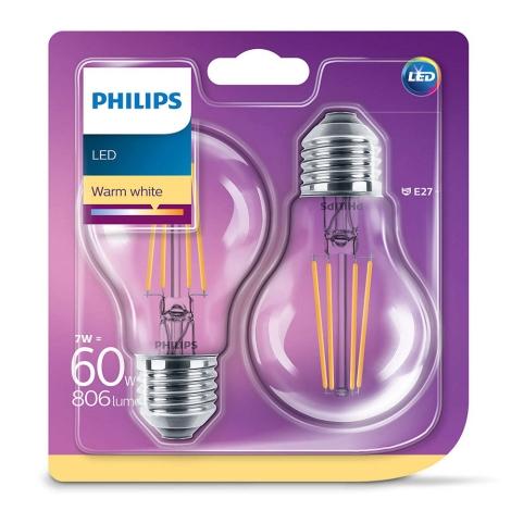 ZESTAW 2x LED Żarówka VINTAGE Philips E27/7W/230V 2700K