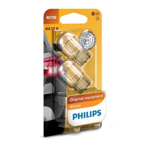 ZESTAW 2x Żarówka samochodowa Philips VISION 12065B2 W21W W3x16d/21W/12V