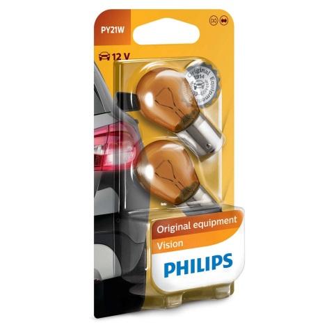 ZESTAW 2x Żarówka samochodowa Philips VISION 12496NAB2 PY21W BAU15s/21W/12V