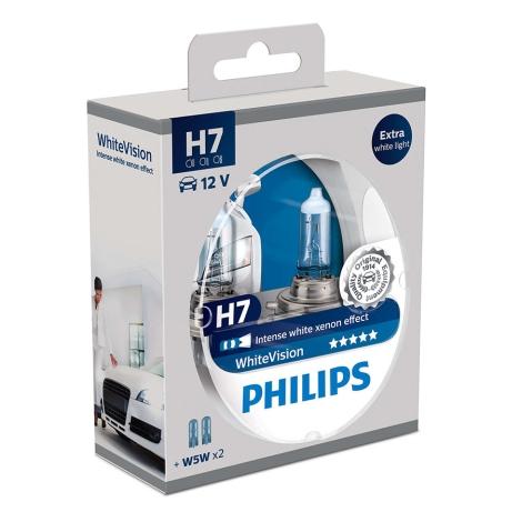 ZESTAW 2x Żarówka samochodowa Philips WHITEVISION 12972WHVSM H7 PX26d/55W/12V