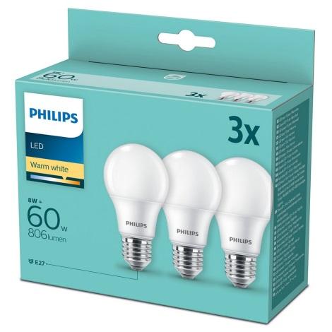 ZESTAW 3x LED Żarówka Philips A60 E27/8W/230V 2700K