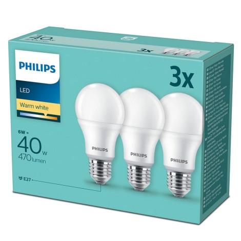 ZESTAW 3x LED Żarówka Philips E27/6W/230V 2700K