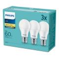 Zestaw 3x LED Żarówka Philips E27/9W/230V 2700K