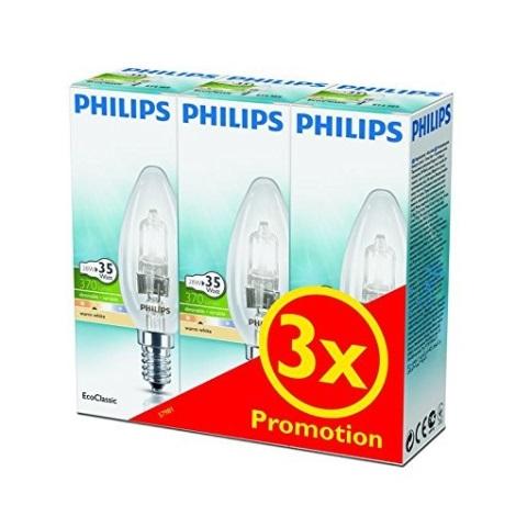 ZESTAW 3x Ściemnialna żarówka halogenowa Philips E14/28W/230V